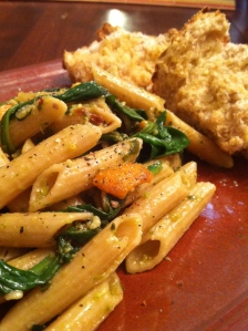 Whole Wheat Basil Penne Pasta  w/ Spinach and Sweet Potatoes
