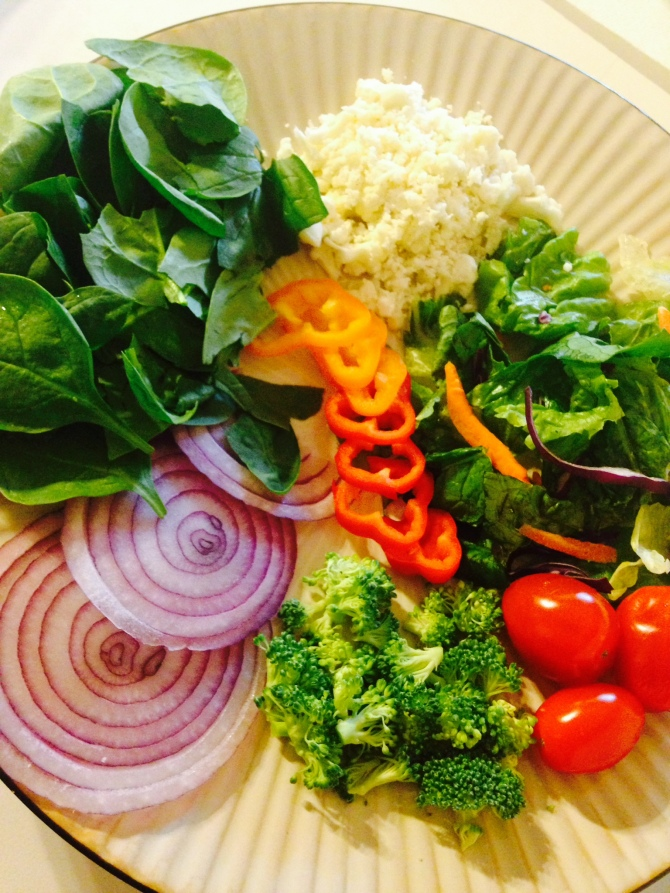 Spinach, Sweet Peppers,Red Onions, Broccoli, Cauliflower/Feta Blend, Tomatoes, Fresh Ginger & any other lettuce blend.